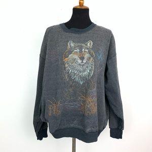 Fox Faded Grain Grey Pullover Sweater Oversized L
